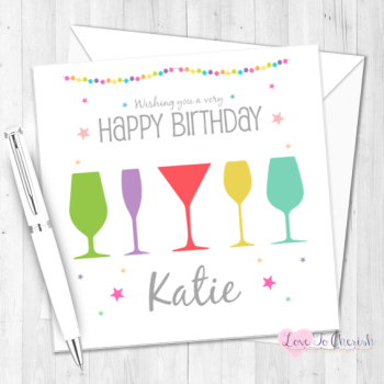 Cocktail Time Personalised Birthday Card