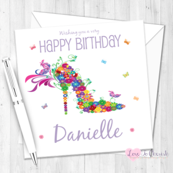 Floral Butterfly Shoe Personalised Birthday Card