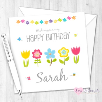 Pretty Flowers Personalised Birthday Card