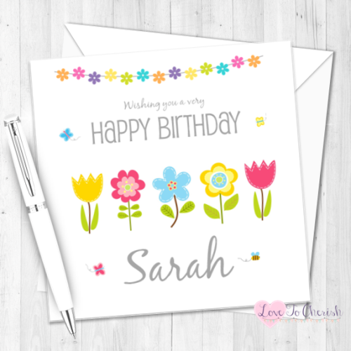 Pretty Flowers Personalised Birthday Card | Love To Cherish