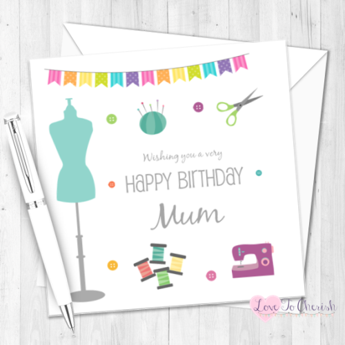 Sew Lovely Personalised Birthday Card | Love To Cherish