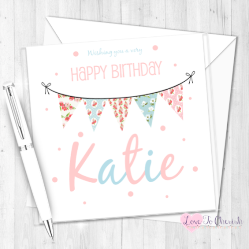 Shabby Chic Bunting Personalised Card | Love To Cherish