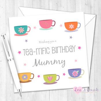 Tea-rrific Tea Cups Personalised Birthday Card