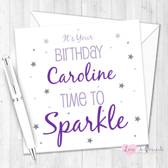 Time To Sparkle Personalised Birthday Card   Love To Cherish