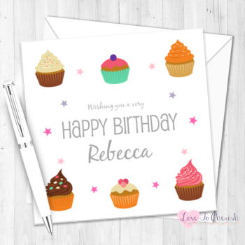 Yummy Cupcakes Personalised Birthday Card