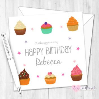Yummy Cupcakes Personalised Birthday Card