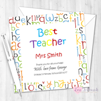 Alphabet Letters Personalised Teacher Card