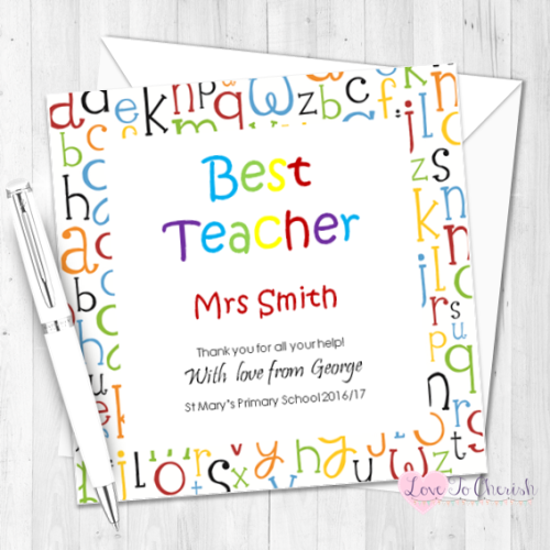 Alphabet Letters Personalised Teacher Card | Love To Cherish