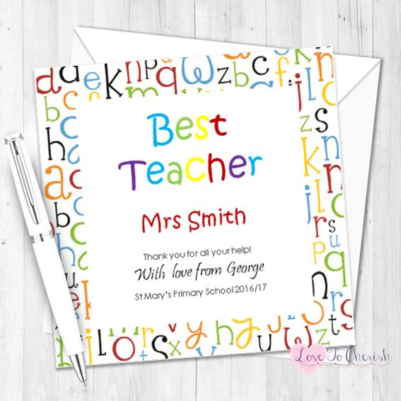 Alphabet Letters Personalised Teacher Card | Love To Cherish