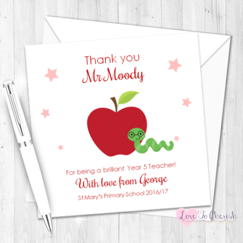 Apple & Bookworm Personalised Teacher Card | Love To Cherish