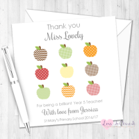 Apple Grid Teacher Personalised Card