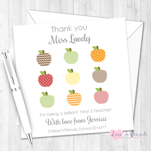Apple Grid Teacher Personalised Card | Love To Cherish