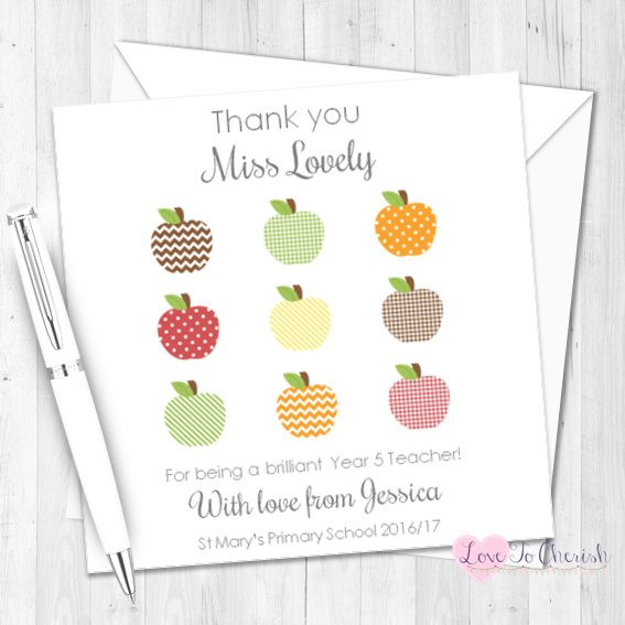 Apple Grid Teacher Personalised Card | Love To Cherish