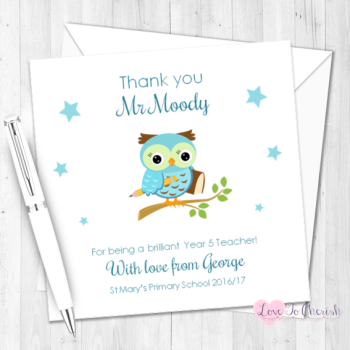 Blue Owl on Branch Personalised Teacher Card
