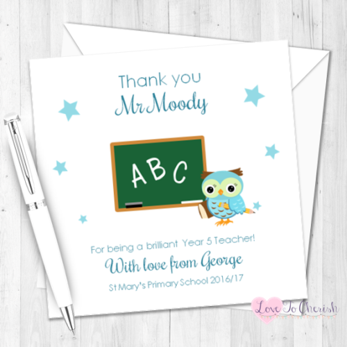 Blue Owl with Chalkboard Personalised Teacher Card | Love To Cherish