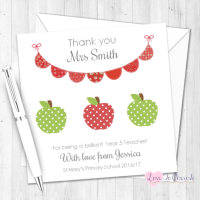 Green & Red Apples & Bunting Personalised Teacher Card
