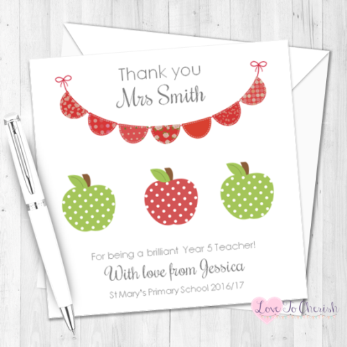 Green & Red Apples & Bunting Personalised Teacher Card | Love To Cherish