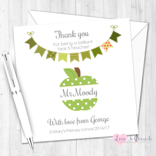 Green Apple & Bunting Personalised Teacher Card | Love To Cherish
