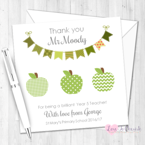 Green Apples & Bunting Personalised Teacher Card | Love To Cherish