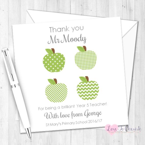 Green Apples Personalised Teacher Card    Love To Cherish