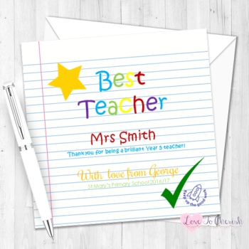 Gold Star Personalised Teacher Card