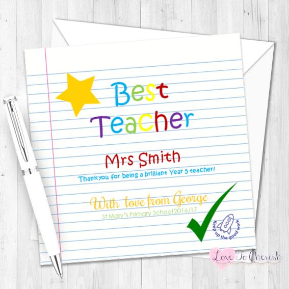Gold Star Personalised Teacher Card | Love To Cherish