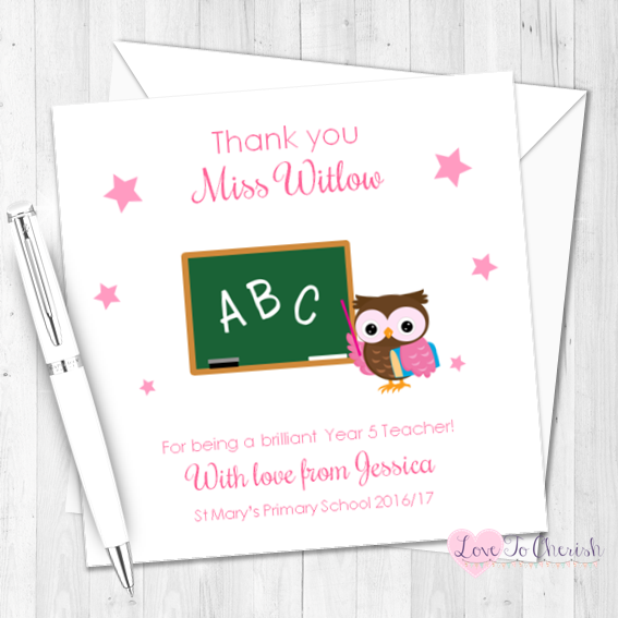 Pink  Owl with Chalkboard Personalised Teacher Card   Love To Cherish