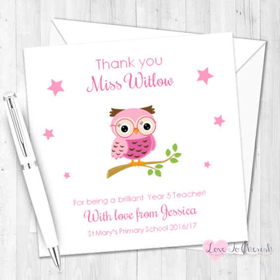 Pink Owl on Branch Personalised Teacher Card   Love To Cherish