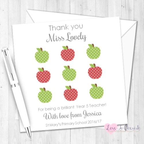 Red & Green Apple Grid Personalised Teacher Card | Love To Cherish