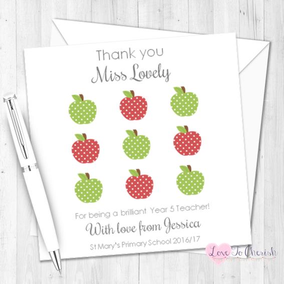 Red & Green Apple Grid Personalised Teacher Card | Love To Cherish