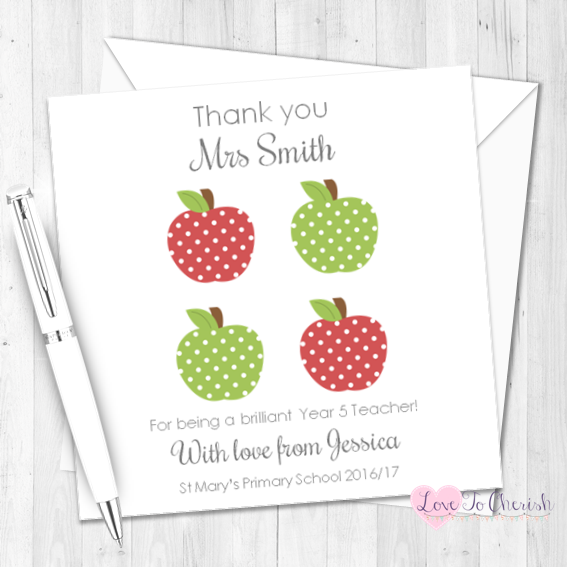 Red & Green Apples Personalised Teacher Card | Love To Cherish