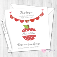 Red Apple & Bunting Personalised Teacher Card