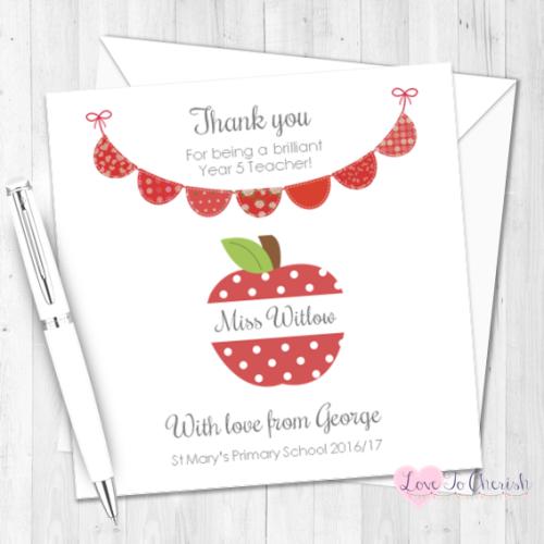 Red Apple & Bunting Personalised Teacher Card | Love To Cherish