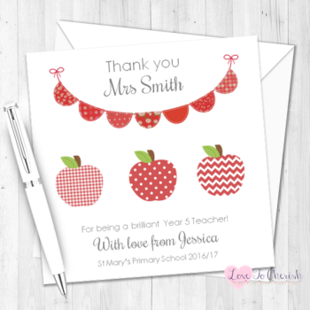 Red Apples & Bunting Personalised Teacher Card