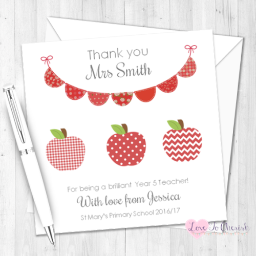 Red Apples & Bunting Personalised Teacher Card | Love To Cherish