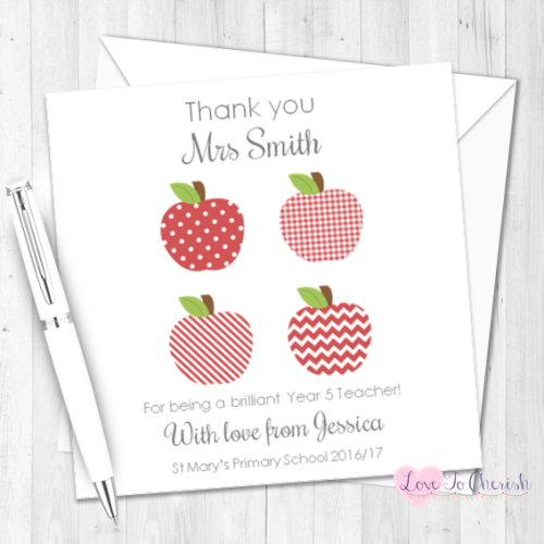 Red Apples Personalised Teacher Card | Love To Cherish