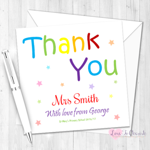 Thank You Personalised Teacher Card | Love To Cherish