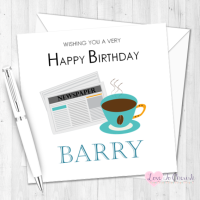 Coffee & Newspaper Personalised Birthday Card