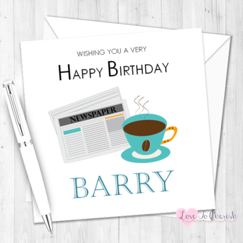 Coffee & Newspaper Personalised Birthday Card | Love To Cherish