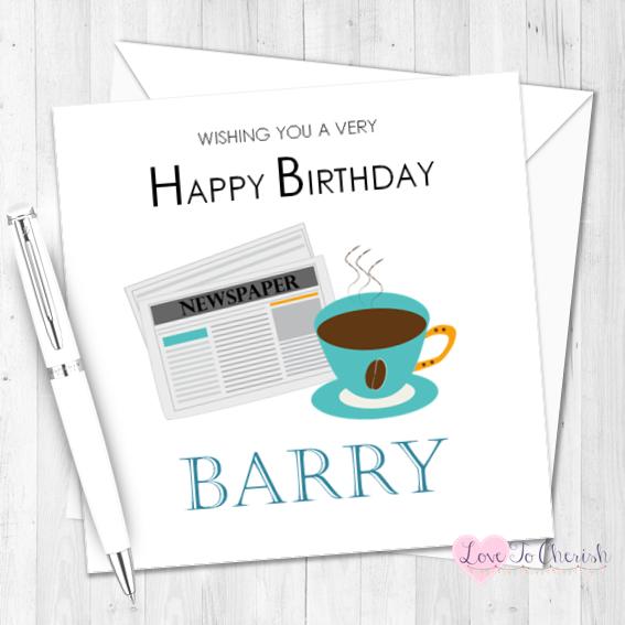 Coffee & Newspaper Personalised Birthday Card | Love To Cherish