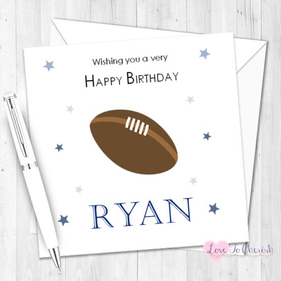 Rugby Personalised Birthday Card   Love To Cherish
