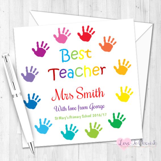 Children's Hand Print Circle Personalised Teacher Card   Love To Cherish