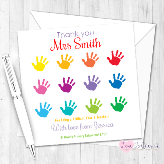 Children's Hand Print Grid Personalised Teacher Card | Love To Cherish