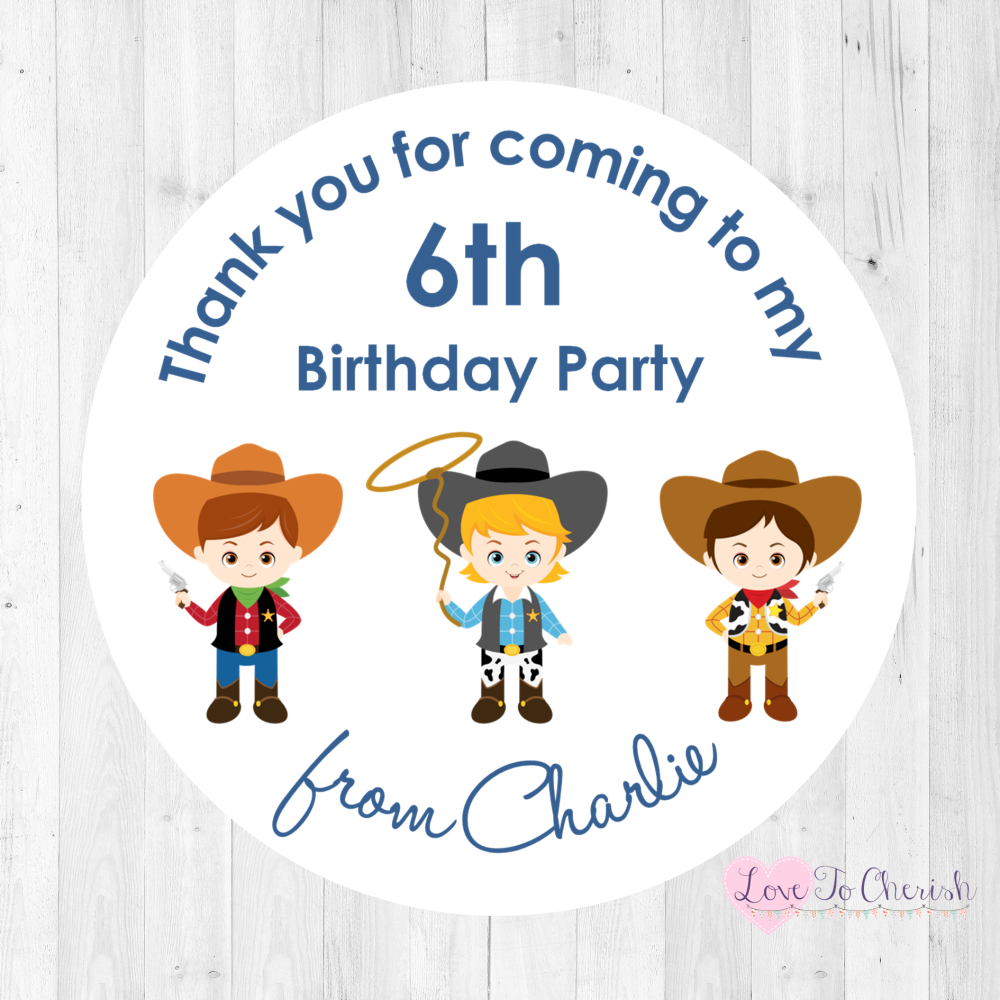 Cowboy Friends Boy's Personalised Birthday Party Stickers | Love To Cherish