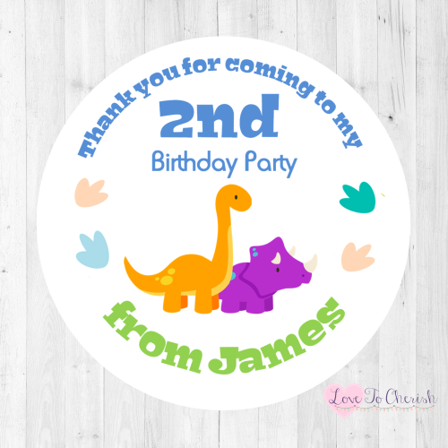 Dinosaurs Boy's Personalised Birthday Party Stickers | Love To Cherish