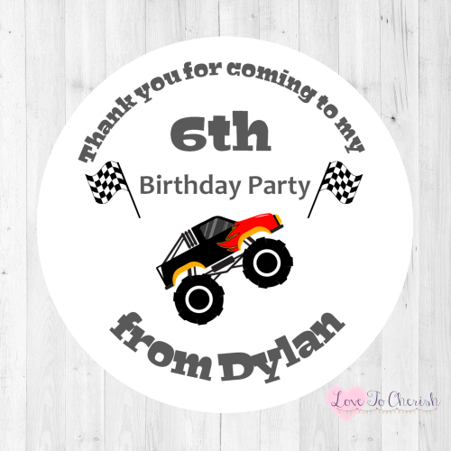 Monster Truck Boy's Personalised Birthday Party Stickers | Love To Cherish
