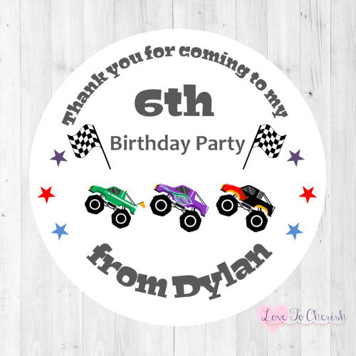 Monster Trucks Boy's Personalised Birthday Party Stickers | Love To Cherish