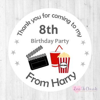 Movie Theme Personalised Birthday Party Stickers