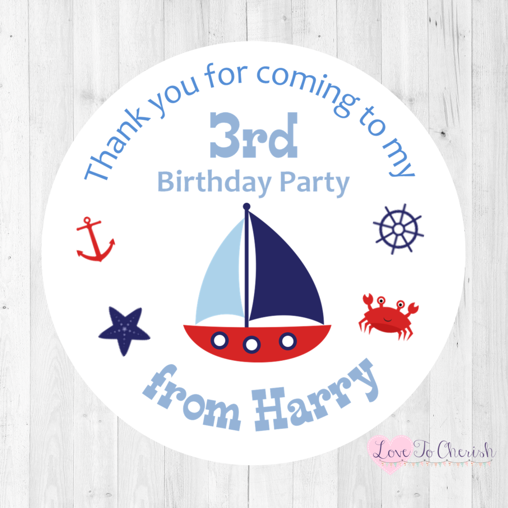 Nautical / Sailing Boat Boy's Personalised Birthday Party Stickers | Love T