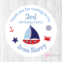 Nautical / Sailing Boat Boy's Personalised Birthday Party Stickers
